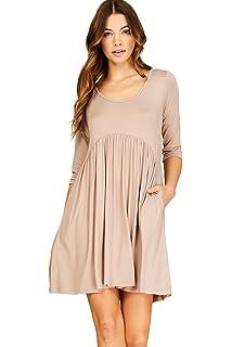 b5205f027c5 Annabelle Women s 3 4 Sleeve Empire Waist A Line Babydoll Pocket Swing Dress