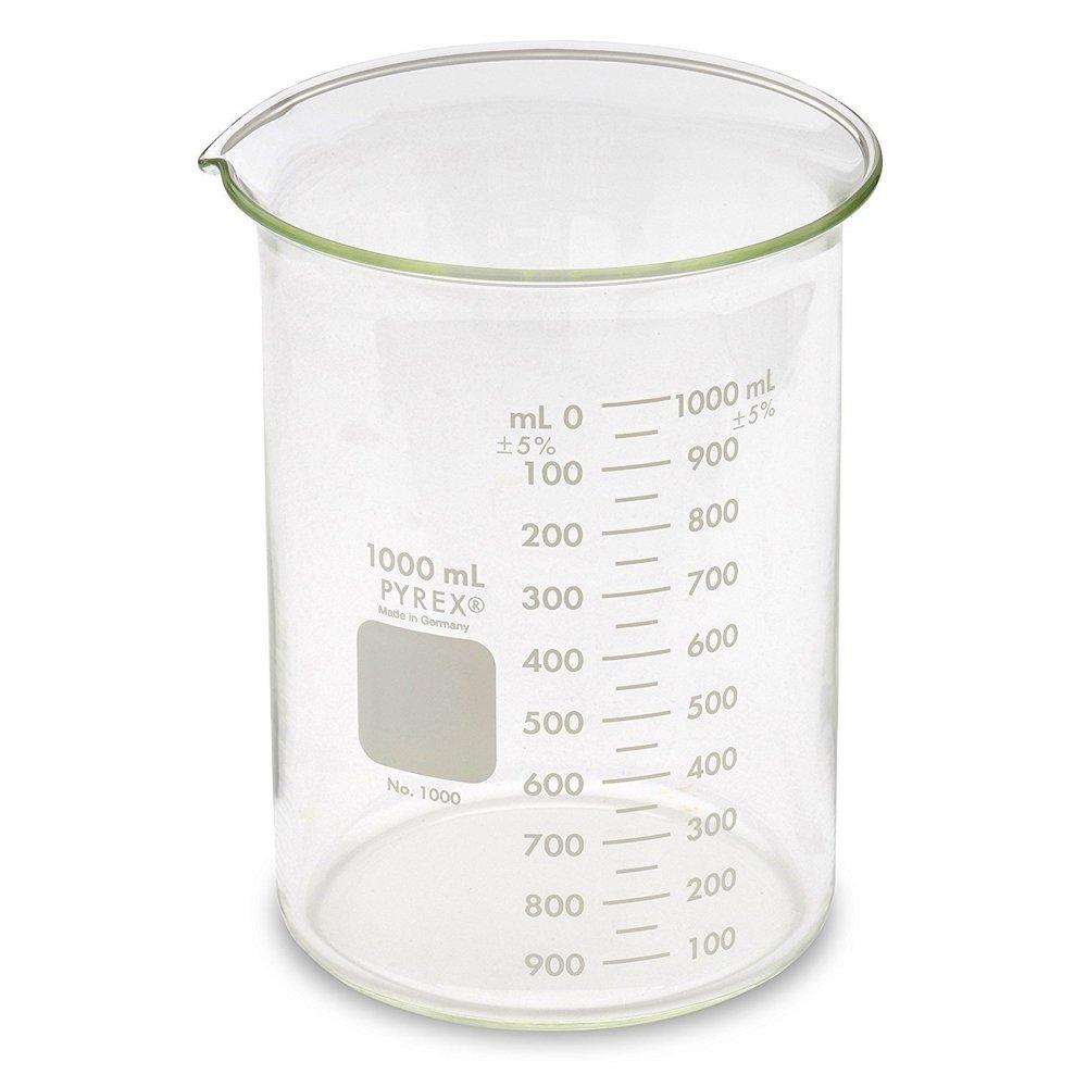 Pyrex Glass Griffin Beaker, Low Form, Measuring, 1,000 mL