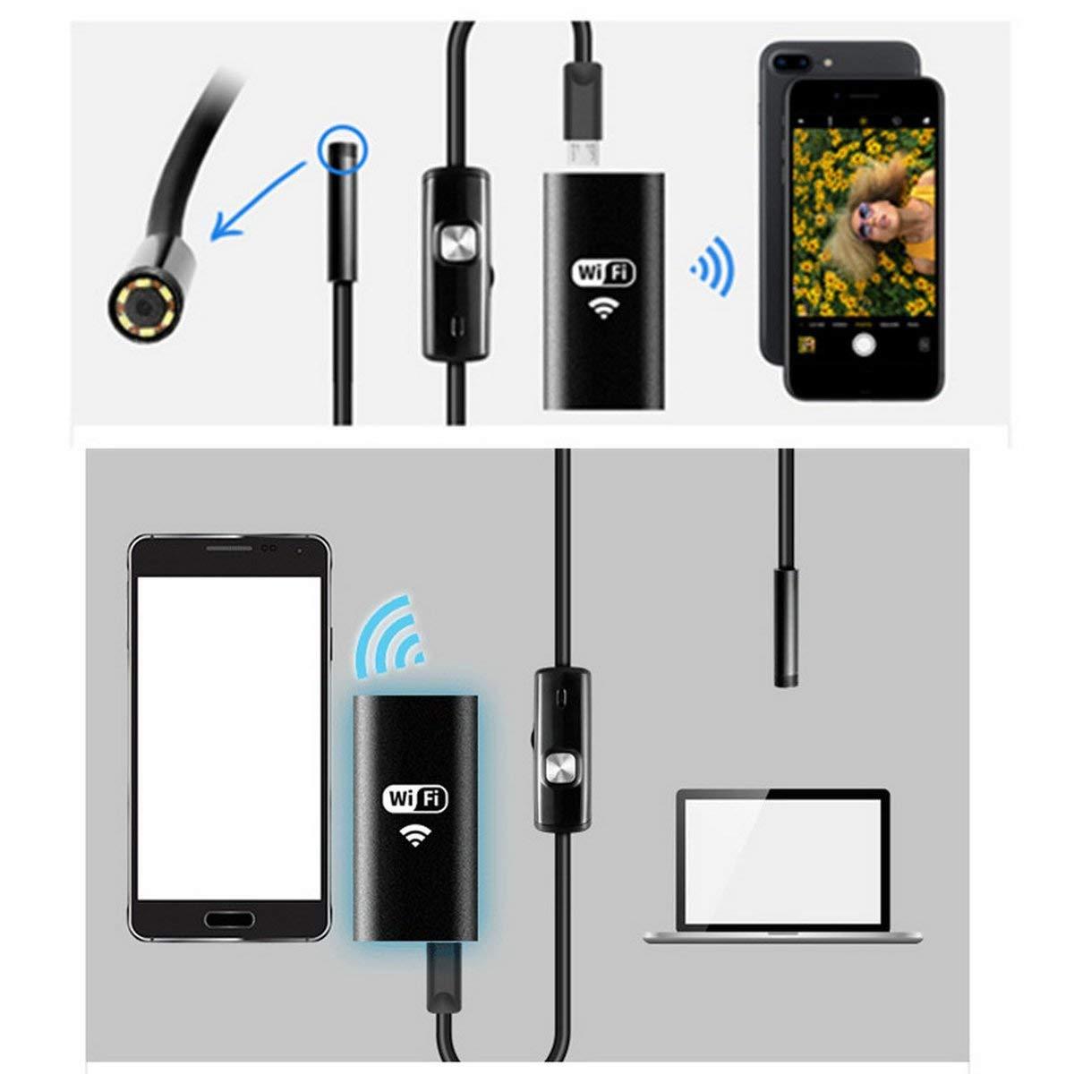 Gugutogo Impermeabile WiFi Cellulare Endoscopio 8mm 8 LED palmare periscopio Fotocamera Digitale Inspektion con Adattatore USB Nero 1,5 m