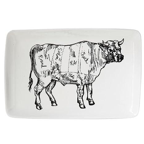 Butcher Chart Rectangular Dinner Plate (Cow)  sc 1 st  Amazon.com & Amazon.com | Butcher Chart Rectangular Dinner Plate (Cow): Dinner Plates