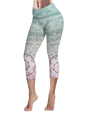 39b8d4f5be94f0 Image Unavailable. Image not available for. Color: Capri Tights Running Workout  Leggings Cropped Pants Mandala ...