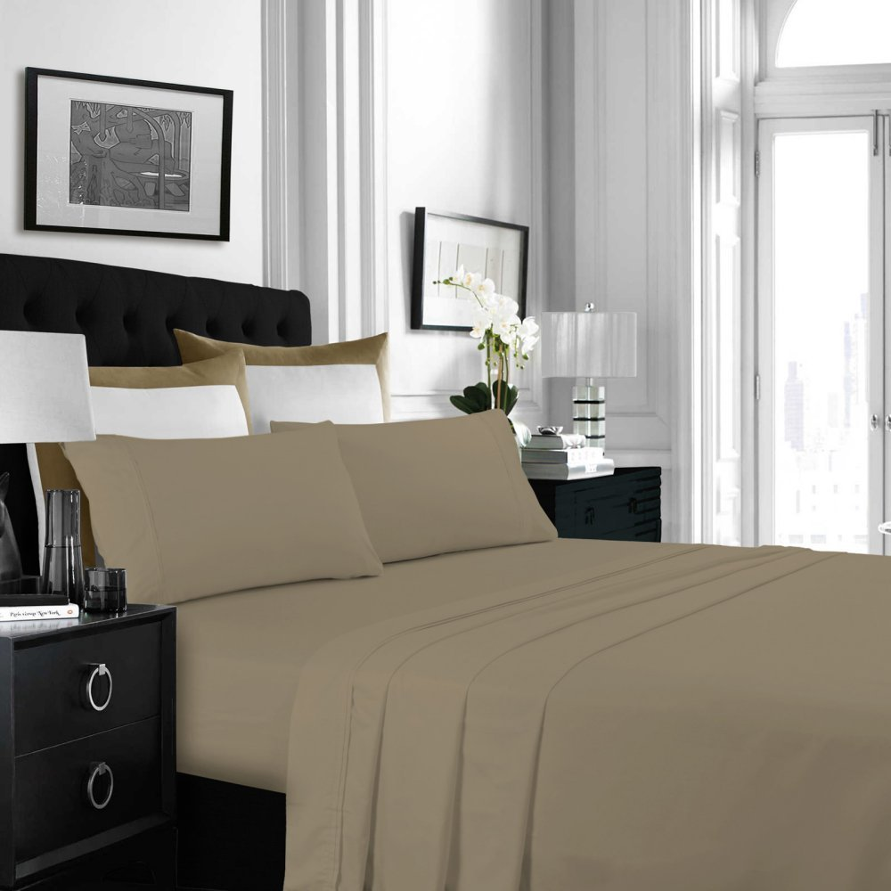 Tribeca Living Solid Deep Pocket Sheet Set, Queen, Taupe by TRIBECA LIVING