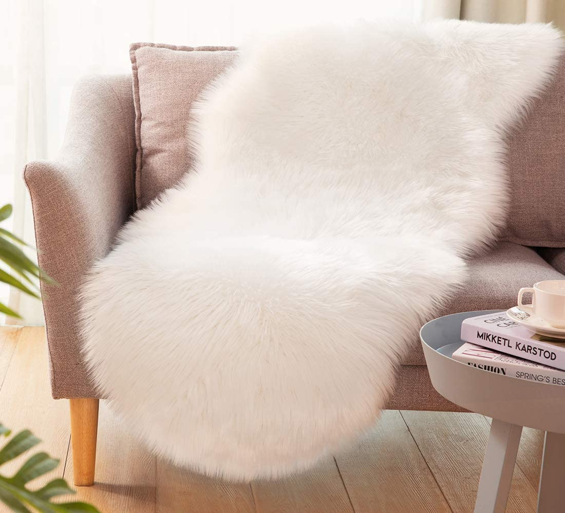 Ultra Soft Faux Sheepskin Fur Rug Fluffy Rug for Bedroom Fuzzy Carpet for Living Room Kid's Room Nursery Decor, White 2 x 6 Feet, Ciicool