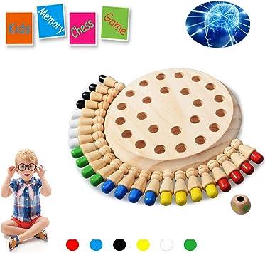 HOWADE Juego de ajedrez de Memoria de Madera Tablero de Bloques Juegos educativos Inteligentes Lógica Actividad de Rompecabezas Juguetes para niños y niñas: Amazon.es: Juguetes y juegos