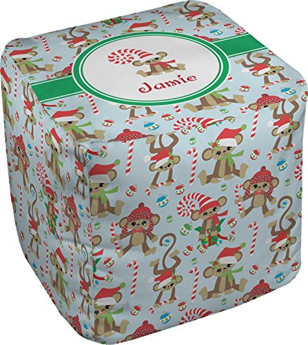 RNK Shops Christmas Monkeys Cube Pouf Ottoman - 13'' (Personalized) by RNK Shops