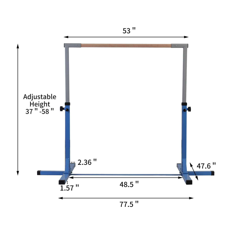 Mat NOT Included HYD-Parts Adjustable Height Kip Bar Fitness Gymnastics Training Bar Horizontal Kip Bar for Kids