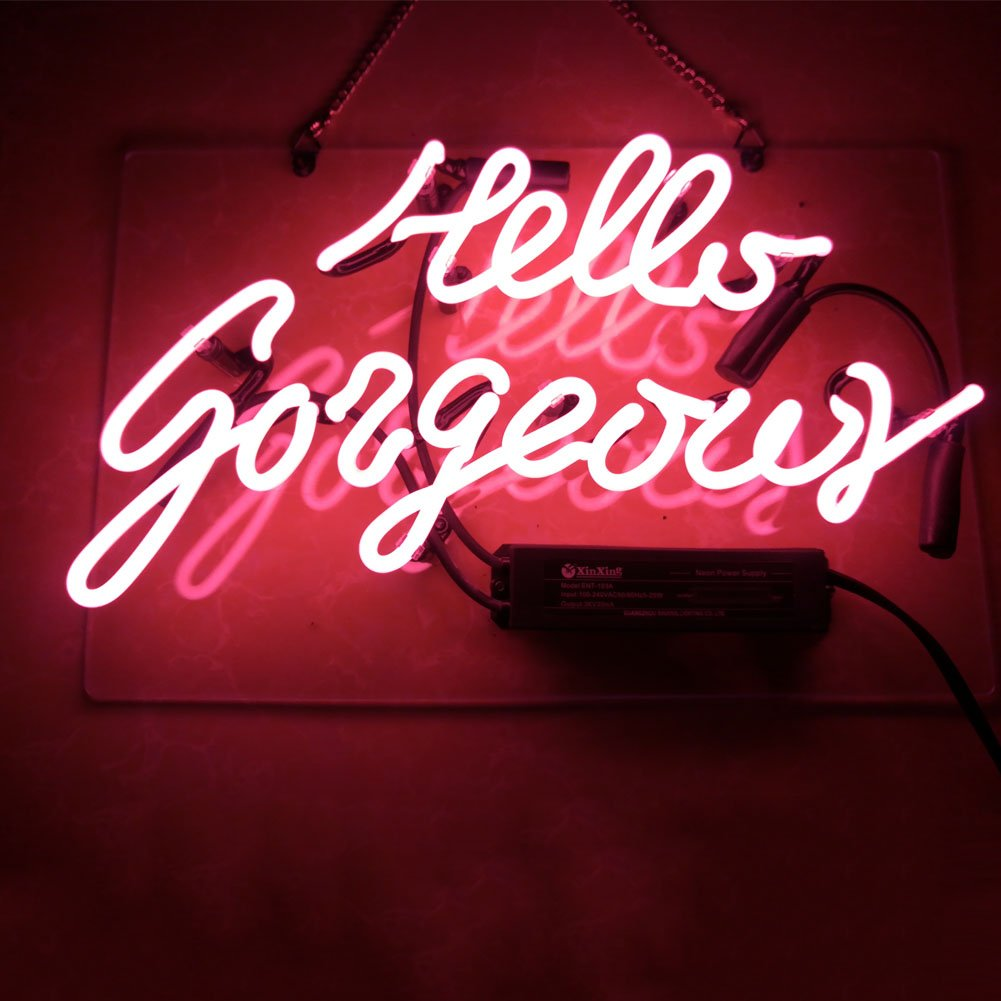 Mugua Hello Gorgeous ' Real Glass Handmade Beer Neon Sign 13.5'' x 8.9'' for Bar Bedroom Garage Game Room