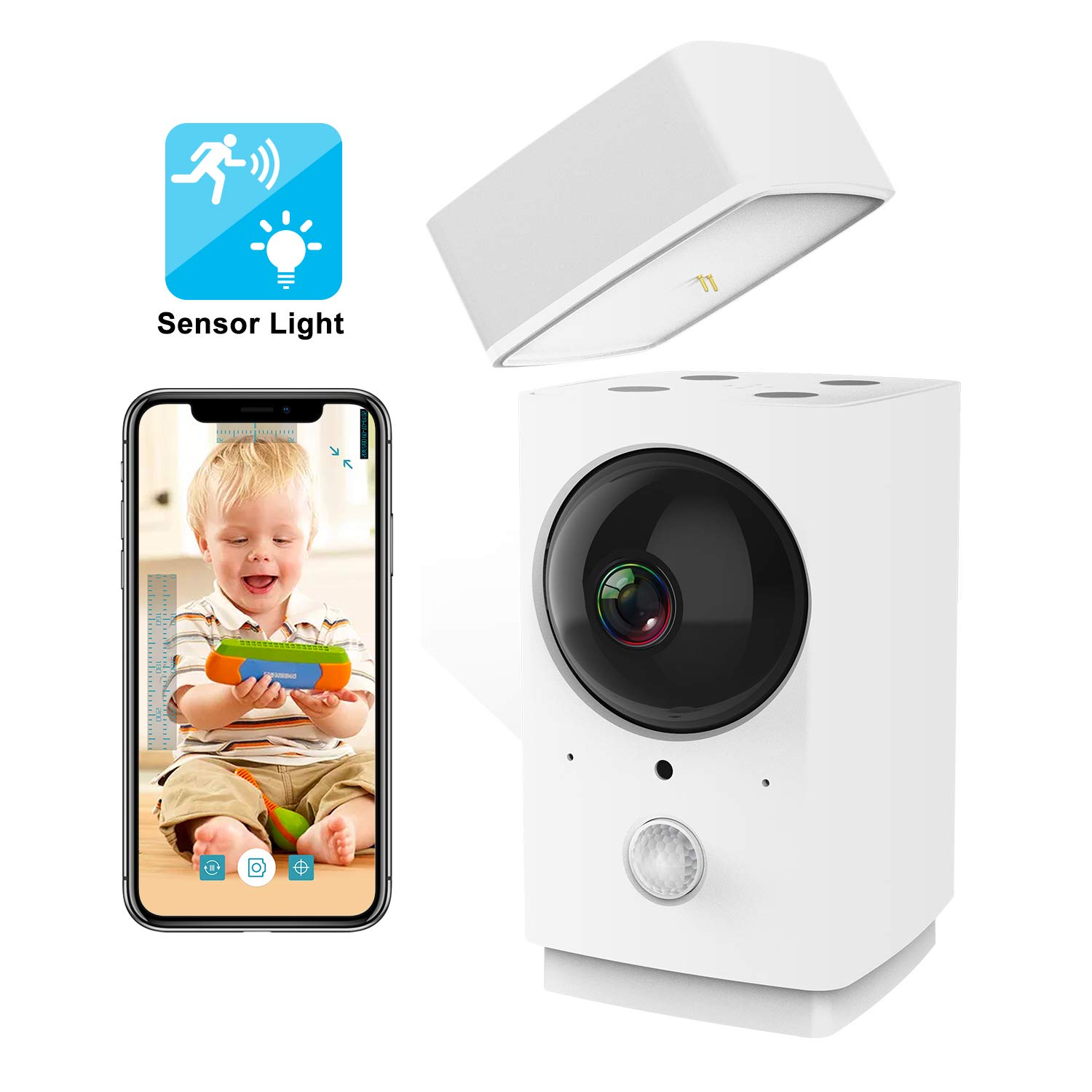 Indoor WiFi Camera with Sensor Light, Rreslicam 1080P 360-degree Wireless IP Camera, Home Security Camera, Pet Nanny Cam Baby Monitor,Motion Tracking,IR Night Vision,Two-Way Audio,Work with Aleax