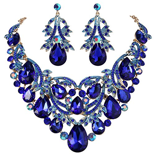 BriLove Women's Bohemian Boho Statement Necklace Dangle Earrings Jewelry Set Crystal Teardrop Filigree Leaf Hollow Design Royal Blue Sapphire Color Gold-Toned ()