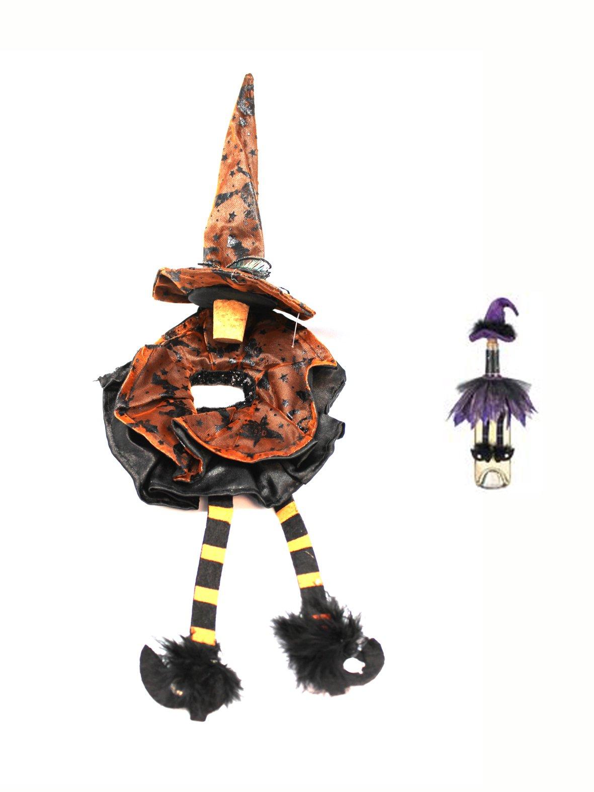 Witch Hat Cork Wine Bottle Decoration (Orange) by Ganz
