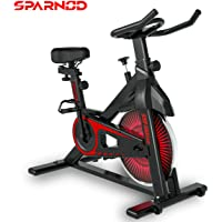 Sparnod Fitness SSB-10 Spin Bike Exercise Cycle for Home Gym (Free Installation Service) - with 10kg Spinning Flywheel - Heavy Duty Indoor Stationary Cycling Trainer Machine