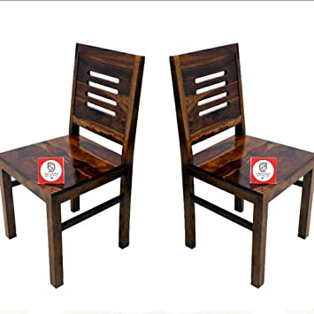 Santosha Decor Pre- Assemble Special PU Polish Walnut Finish Solid Sheesham Wood Dining, Study Chair (Set of 2)