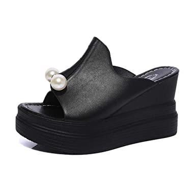 7bdbd7406 BSGSH Fashion Women Casual Summer Peep Toe Platform Shoes Wedges Flip Flops  Slide Sandals (5