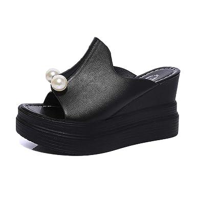 7bdbd7406 BSGSH Fashion Women Casual Summer Peep Toe Platform Shoes Wedges Flip Flops  Slide Sandals (5