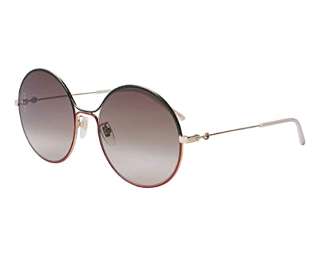 3c465fde02f Image Unavailable. Image not available for. Color  Gucci GG 0395S 003 Green  Red Gold Metal Round Sunglasses Grey Gradient Lens