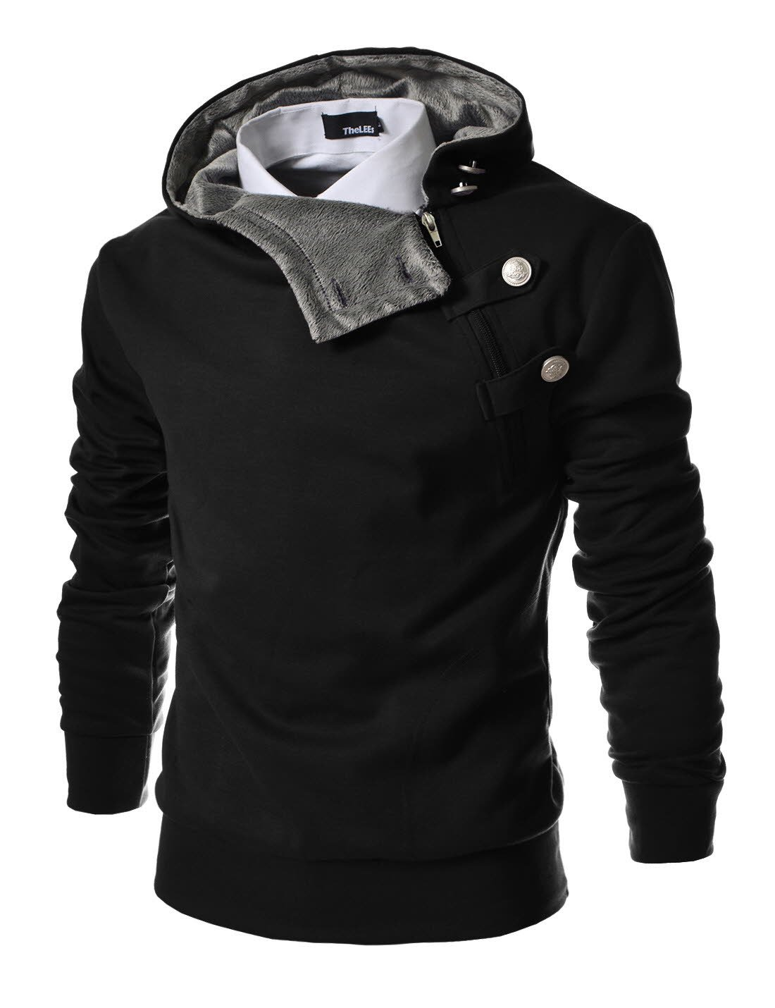 TheLees (R4BH) Mens Casual Luxury Buckle Hoodie Slim Cotton Sweatshirts BLACK US XS(Tag size M) by TheLees (Image #2)