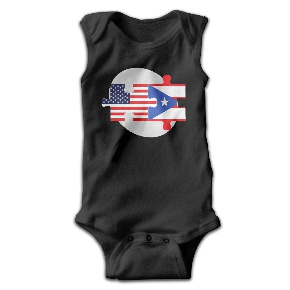 U.S Puerto Rico Flags Puzzle Baby Newborn Crawling Clothes Sleeveless Onesie Romper Jumpsuit Black