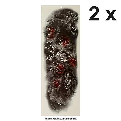 Tatuaje de brazo XXL – León rosas calavera reloj – Multicolor brazo piernas cuerpo piel tatuaje