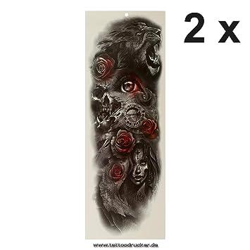 Tatuaje de brazo XXL – León rosas calavera reloj – Multicolor ...
