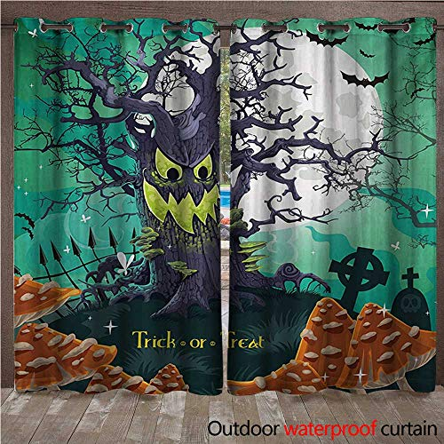 WilliamsDecor Halloween Outdoor Curtains for Patio Sheer Trick or Treat Dead Forest with Spooky Tree Graves Big Kids Cartoon Art Print W108 x L84(274cm x 214cm) -
