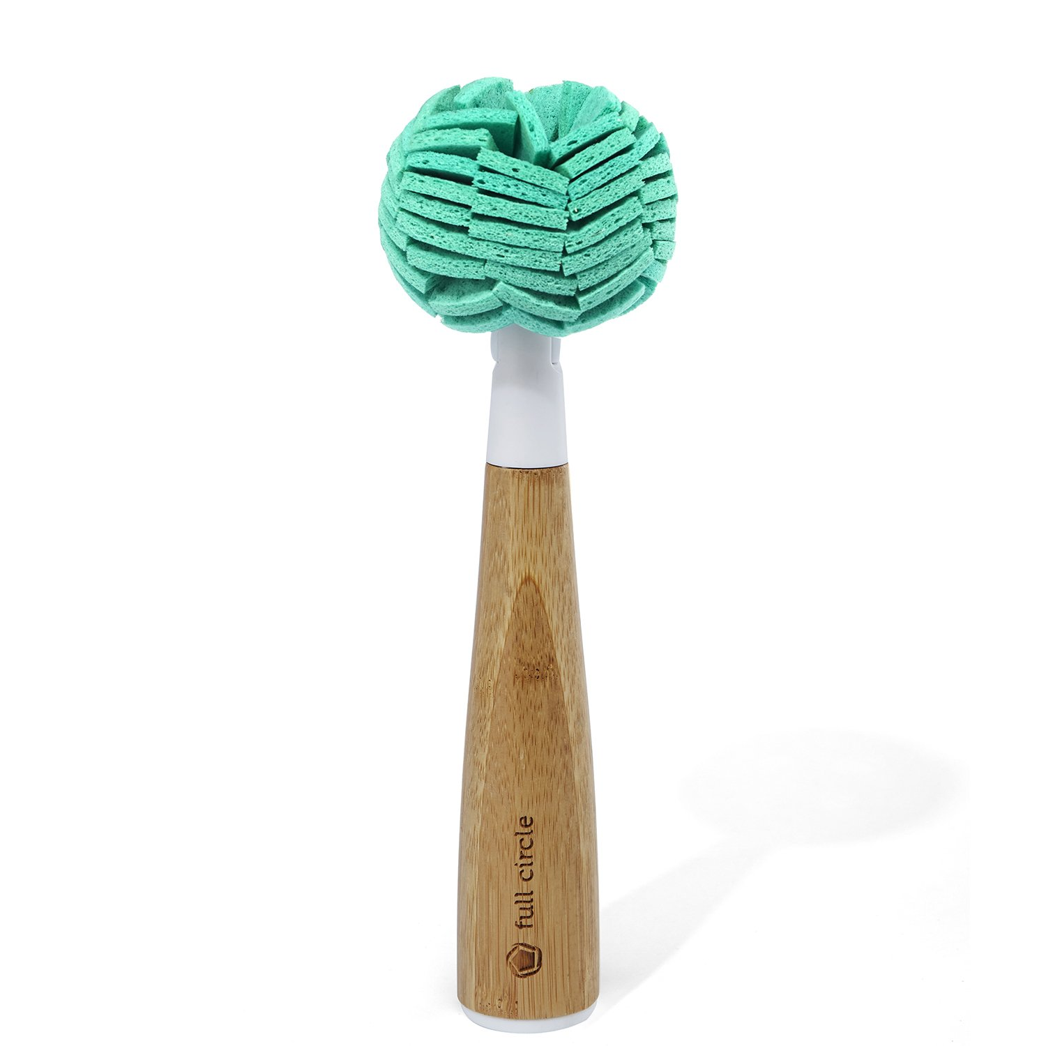 Full Circle Crystal Clear 2.0 Replaceable Glassware & Dish Cleaning Sponge with Bamboo Handle FC14109