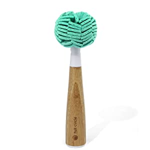 Full Circle Crystal Clear Bamboo Handle Glassware & Dish Cleaning Sponge with Replaceable Head, White 0.2205 pounds Teal 2 oz
