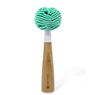 Full Circle Crystal Clear 2.0 Bamboo Handle Glassware & Dish Cleaning Sponge with Replaceable Head, White