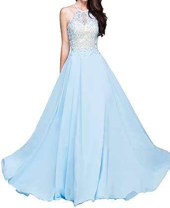 BONBETE A-Line Princess Scoop Neck Floor-Length Chiffon Prom Dress With  Appliques Lace at Amazon Women s Clothing store  961a4b4af