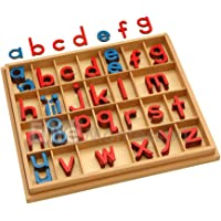 Elite Montessori Wooden Movable Alphabet with Box Preschool Spelling Learning Materials (Red & Blue, 5mm Thick)