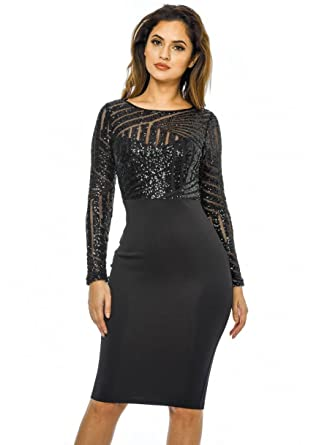 d0a59b7940e2 AX Paris Women s 2 in 1 Sequin Top Midi Bodycon Dress at Amazon ...