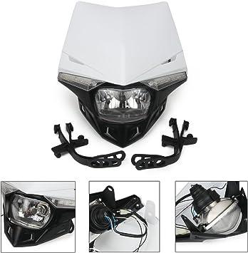 JFG RACING White Universal S2 12V 35W Motorcycle Halogen Headlight Head Lamp Light Fairing For Honda Yamaha Suzuki Kawasaki K.T.M