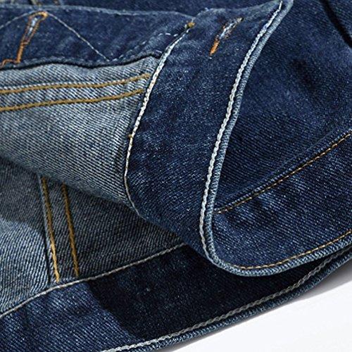 Vest Slim Azul Jeans de Byqny Denim Hombre Grande de Chaqueta Sin Chaleco Mezclilla Manga Talla Vaquero Fit Arrancado q6x7aT6