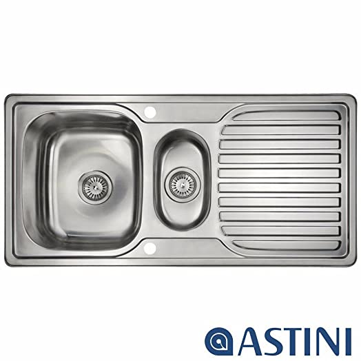 Astini Velia 1.5 Bowl Brushed Stainless Steel Kitchen Sink & Waste ...