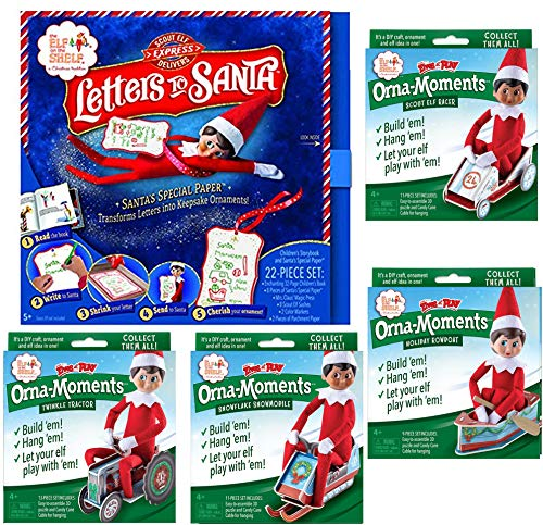 The Elf on the Shelf DIY Crafts Set: Letters To Santa Box Set, with Orna-Moments Twinkle Tractor, Snowflake Snowmobile, Scout Elf Racer, and Holiday Rowboat (Letter From Elf On Shelf To Child)