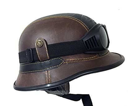 Amazon Com Harley Davidson Leather Helmet Brown Black With Goggles