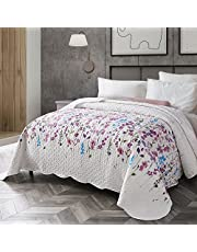 Bedsure Floral Quilted Bedspread - Lilac Flower Pattern Microfiber Lightweight Coverlet 3 Pieces Quilt