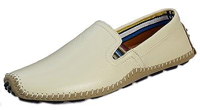 DADAWEN Men's Leather Slip-On Deck Loafers Comfort Walking Moccasins  Driving Casual Shoes -Beige