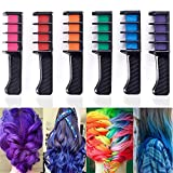 6PCS Hair Color Combs, Temporary Hair Coloring Chalk Instant Hair Color Long Lasting for Girls Teens Adults Dress Up, Costumes, Cosplay, Fans Party DIY