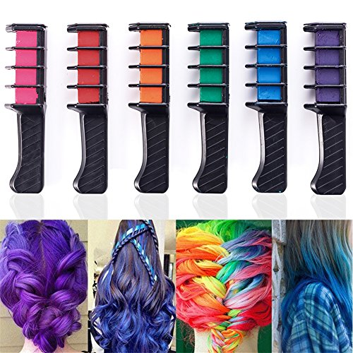6PCS Hair Color Combs, Temporary Hair Coloring Chalk Instant Hair Color Long Lasting for Girls Teens Adults Dress Up, Costumes, Cosplay, Fans Party DIY by Shallylu