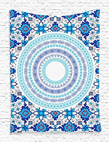 Blue Tapestry Indian Mandala by Ambesonne, Oriental Tile Design Hippie Bohemian Print Digital Printed Tapestry Wall Hanging Wall Tapestry Blue Theme Living Room Bedroom Dorm Decor, Blue (Blue Theme Room)