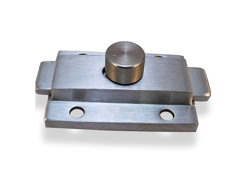 Cast Stainless Steel Surface Mounted Slide Latch for Restroom Partition - 1-3/4'' Between Side by Side Mounting Hole Centers and 1-1/2'' Between Top & Bottom Mounting Holes Centers