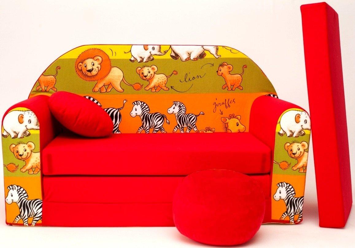D2L + DIVANO bambini divano pieghevole divano letto matrimoniale Mini Strato 3-in-1 Baby Set + poltrona per bambini e ammortizzatore di sede + materasso barabike SOF073