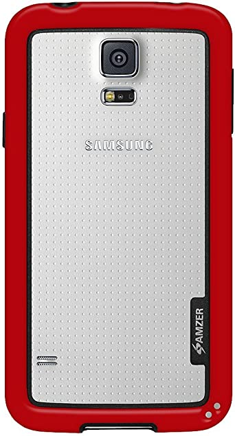Amzer AMZ96964 Border Back Case Cover for Samsung Galaxy S5 SM G900  Red  Cases   Covers