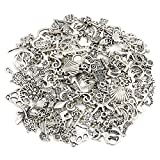 Naler 120pcs Mixed Styles Retro Silver Pendant Charm for DIY Jewellery Making, Bracelet, Necklace, Earring, Jewellery Finding Craft Decoration Accessories