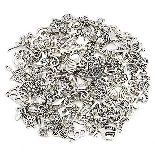 Craft Charm - Naler Antique Silver Mixed Charms Pendants for DIY Jewelry Making and Crafting, 120 Pieces