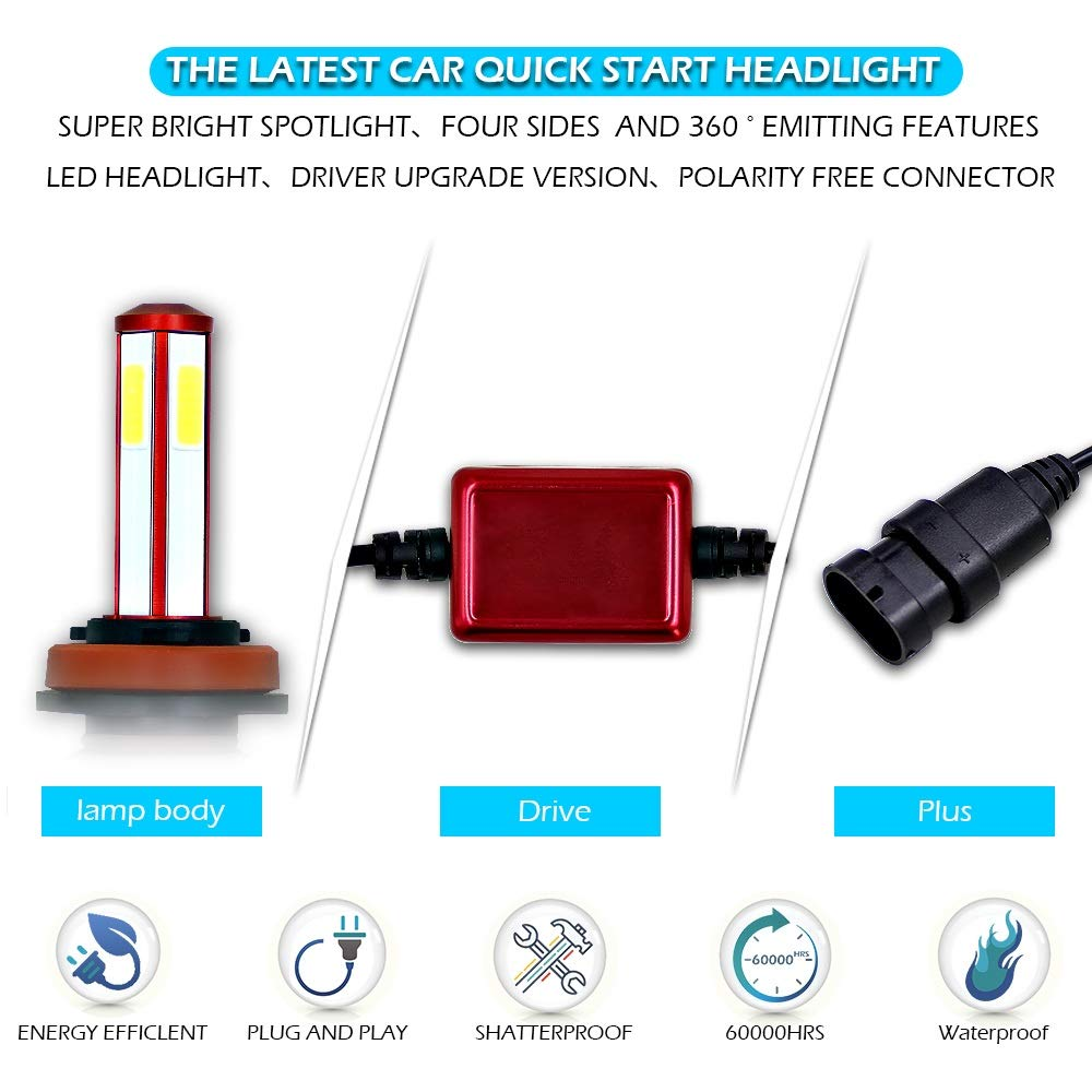 H11 LED phare ampoule voiture kit de conversion int/égr/é super lumineux phare 80W 6000K 8000LM remplacement lampe halog/ène IP68 /étanche super lumineux refroidissement rapide Phare