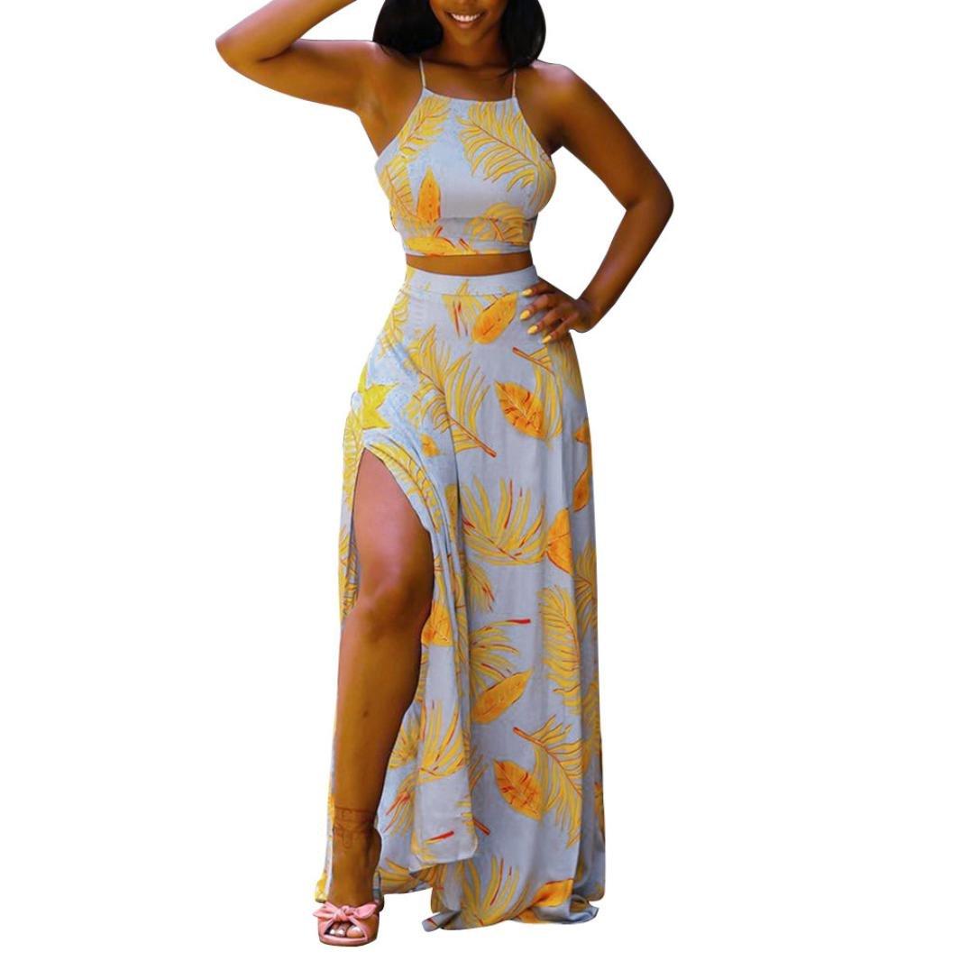 Easytoy Women's Spaghetti Strap Crop Top Maxi Skirt Set 2 Piece Outfit Bandage Nightclub Dress (L)
