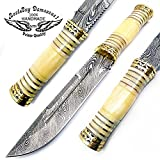 Cheap Camel Bone 12.5″ Fixed Blade Custom Handmade Damascus Steel Hunting Knife with Brass Spacers Unique File Work On The Handel A Piece of Craftsmanship Limited Edition100% Prime Quality
