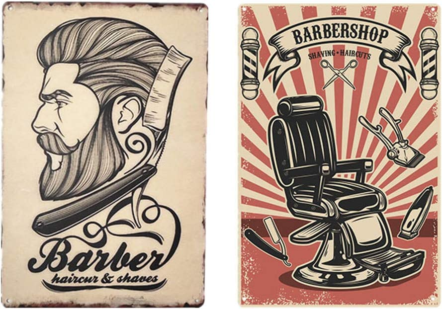 DoubleWood 2 Pack Barber Shop Theme Tin Sign Metal Wall Signs Metal Sign for Salon & Barbershop Decor 12
