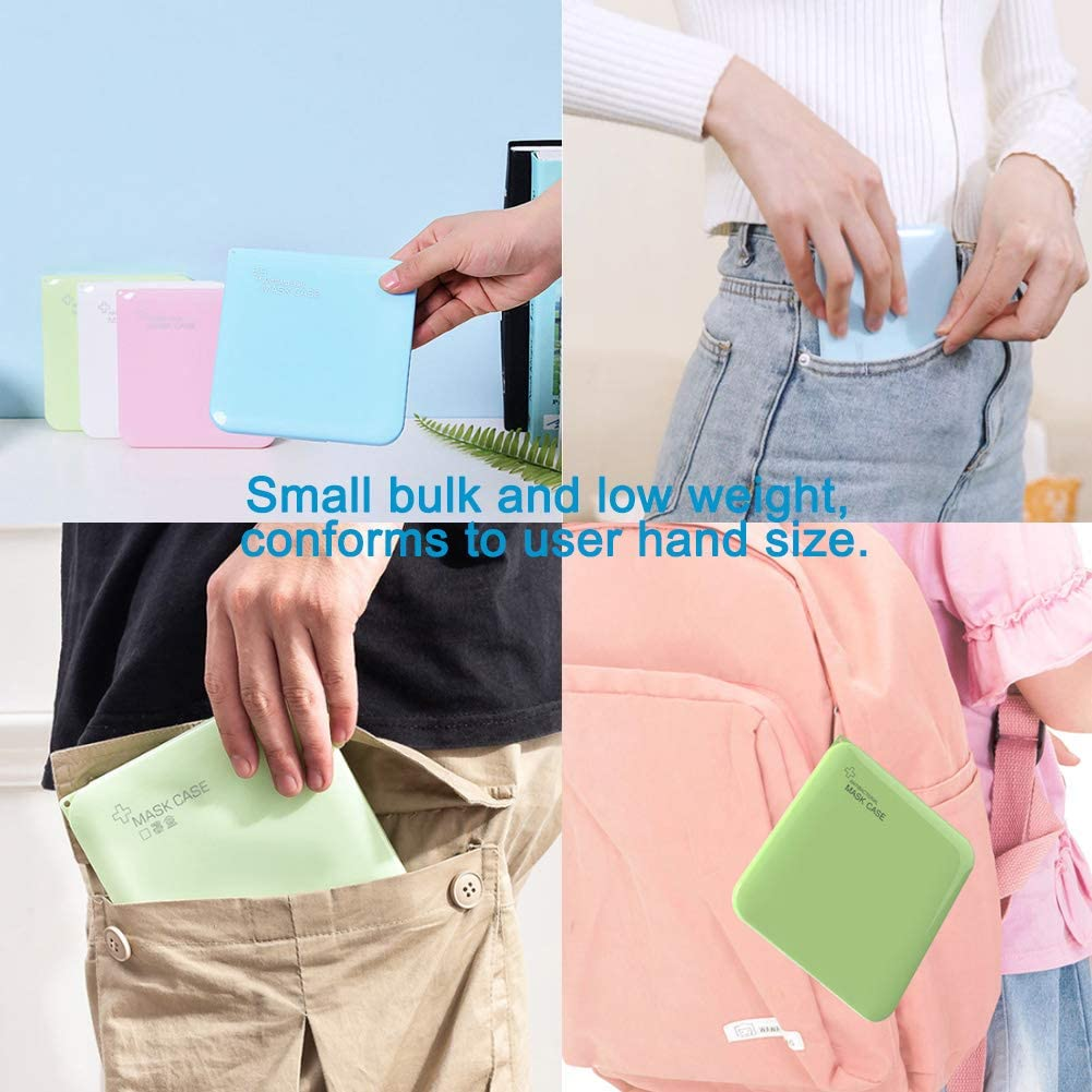 4 Mask Lanyard 4 Pack of Mask Case Holder Portable Mask Storage Bag Masks Box Reusable Masks Organizer Recyclable//Dust Face//Mouth Cover Mask Storage Case Blue//Pink//Green//White